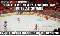 "Honda, Huh, and Memes: DET )  0 st 18:24  THAT FEEL WHEN EVERY EXPANSION TEAM  IN THE LAST30 YEARS-  BELLE TIRE HONDA  luntington  20  25  HASBETTERATTENDANCE  THAN  THOCKEYTOWN"" I guess all those loyal fans have been stuck in the snow storm for the last 10 years huh"