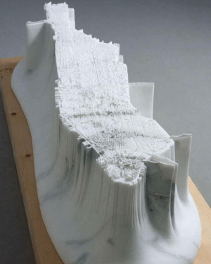 Detailed replica of Manhattan carved out in a 2.5 tonne block of marble by the Japanese artist Yutaka Sone: Detailed replica of Manhattan carved out in a 2.5 tonne block of marble by the Japanese artist Yutaka Sone