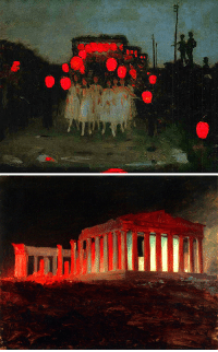 Church, Tumblr, and Blog: detailedart:Red/Night Association of:1.   The Lantern Parade, 1918, by Thomas Cooper Gotch2.   Parthenon, Athens, from the Northwest (1869), by Frederic Edwin Church