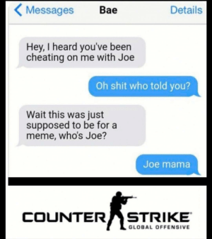 Me irl: Details  Messages  Bae  Hey, I heard you've been  cheating on me with Joe  Oh shit who told you?  Wait this was just  supposed to be for a  meme, who's Joe?  Joe mama  COUNTER  STRIKE  GLOBAL OFFENSIVE Me irl
