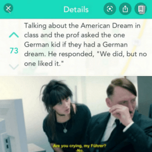 "Dream was salty. by Franklin-Gustov MORE MEMES: Details  Talking about the American Dream in  Aclass and the prof asked the one  German kid if they had a German  dream. He responded, ""We did, but no  one liked it.""  Are you crying, my Führer?  No Dream was salty. by Franklin-Gustov MORE MEMES"