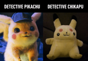 "When ""turn that frown upside down"" is completely misunderstood.: DETECTIVE PIKACHU  DETECTIVE CHIKAPU When ""turn that frown upside down"" is completely misunderstood."