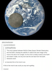 Space: determinedtomato  sucymemebabaran  coolthingoftheday:  The moon passed between NASA's Deep Space Climate Observatory  and the Earth, allowing the satellite to capture this rare image of the  moon's far side in full sunlight. As the moon is tidally locked to the Earth  and doesn't rotate, we only ever see the one face from the Earth.  Awesome shot!  so basically this is the moon's ass  if this is the moon's ass could you say we're getting  mooned