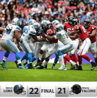 Detroit  LIONS  22 FINAL  21  Atlanta  FALCONS Nice job today big win onepride