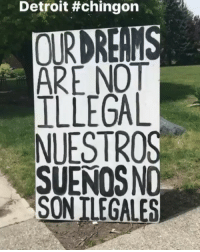 """Detroit, Latinos, and Love: Detroit tchingon  n  ARE NOT  ILLEGAL  NUESTROS  SUENOSNO Repost @georgelopez: """"I had to pull over and see this sign in person, in Detroit a city that I love, this isn't an issue that relates to solely latinos, no single person should ever be allowed to destroy the AmericanDream"""" ✊🏽✊🏾✊🏿- immigrantsmakeamericagreat HereToStay immigration Undocumented UndocumentedAndUnafraid"""