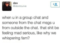 Fam, Group Chat, and Memes: dev  @idontcurve  when u in a group chat and  someone from the chat msgs u  from outside the chat. that shit be  feeling mad serious, like why we  whispering fam? 😂