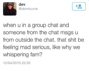 carefreeblackho:  LMFAOOO WHY WE WHISPERING : dev  @idontcurve  when u in a group chat and  someone from the chat msgs u  from outside the chat. that shit be  feeling mad serious, like why we  whispering fam?  12/04/2015 22:35 carefreeblackho:  LMFAOOO WHY WE WHISPERING