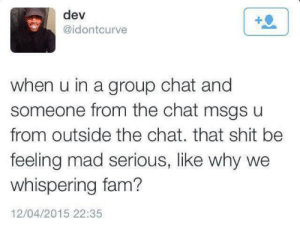 There's that little feeling that comes with it by somethingofthebest MORE MEMES: dev  @idontcurve  when u in a group chat and  someone from the chat msgs u  from outside the chat. that shit be  feeling mad serious, like why we  whispering fam?  12/04/2015 22:35 There's that little feeling that comes with it by somethingofthebest MORE MEMES