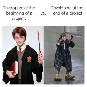 Hello new people on programmer humor: Developers at the  beginning of a  project.  Developers at the  end of a project.  vs. Hello new people on programmer humor
