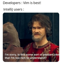 Sorry, Best, and Peasant: Developers : Vim is best!  Intellij users:  I'm sorry, is this some sort of peasant joke  that I'm too rich to understand? JetBrain users are rich though!!