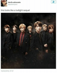 """""""If it was I would watch it because BTS would make twilight 10000x better"""" and HAVE YOU SEEN THEM WITH COLORED CONTACTS?! THEY CAN PASS AS VAMPIRES... OR EVEN WEREWOLVES!!!: devils advocate  @pokemyoon  this looks like a twilight sequel  15/04/2016, 07:47 """"If it was I would watch it because BTS would make twilight 10000x better"""" and HAVE YOU SEEN THEM WITH COLORED CONTACTS?! THEY CAN PASS AS VAMPIRES... OR EVEN WEREWOLVES!!!"""