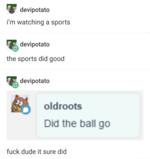 Sports: devipotato  i'm watching a sports  devipotato  the sports did good  devipotato  oldroots  Did the ball go  fuck dude it sure did Sports