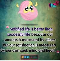 :): DEVRAN  Satisfied life is better than  successful life because our  success is measured by others  but our satisfaction is measured  by our own soul, mind and heart  e f  DEVRANGE :)