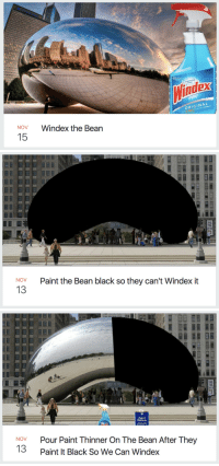 moose-shampoo:if you've ever wondered what it's like to live in the midwest, this is it.: dex  ORIGINAL  NOV  Windex the Bean  15   726.  2113  Paint the Bean black so they can't Windex it  NOV  13   726.  2113  Paint  Thinner  Pour Paint Thinner On The Bean After They  Paint It Black So We Can Windex  NOV  13 moose-shampoo:if you've ever wondered what it's like to live in the midwest, this is it.