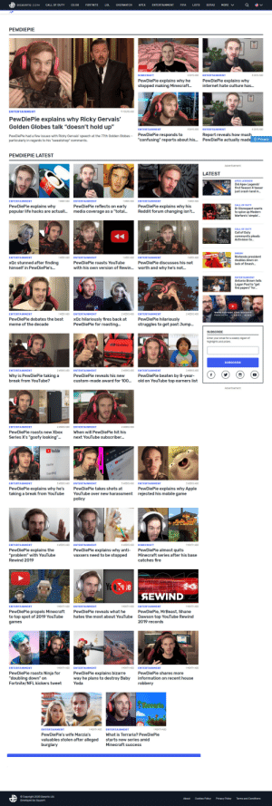 """What the fuck is this: DEXERTO.COM  CALL OF DUTY  Cs:GO  FORTNITE  LOL  OVERWATCH  APEX  ENTERTAINMENT  FIFA  LISTS  DOTA2  MORE  PEWDIEPIE  2 DAYS AGO  3 DAYS AGO  MINECRAFT  ENTERTAINMENT  PewDiePie explains why he  stopped making Minecraft..  PewDiePie explains why  internet hate culture has.  ENTERTAINMENT  11 HOURS AGO  PewDiePie explains why Ricky Gervais'  Golden Globes talk """"doesn't hold up""""  4 DAYS AGO  ENTERTAINMENT  4 DAYS AGO  ENTERTAINMENT  PewDiePie responds to  """"confusing"""" reports about his.  Report reveals how much  PewDiePie actually made  PewDiePie had a few issues with Ricky Gervais' speech  particularly in regards to his """"sweatshop"""" comments.  the 77th Golden Globes -  Privacy  PEWDIEPIE LATEST  Advertisement  LATEST  APEX LEGENDS  APEX  Did Apex Legends'  first Season 4 teaser  just crash-land in.  CocaC  ENTERTAINMENT  1 WEEK AGO  ENTERTAINMENT  1 WEEK AGO  ENTERTAINMENT  1 WEEK AGO  PewDiePie reflects on early  media coverage as a """"total..  PewDiePie explains why  popular life hacks are actuall.  PewDiePie explains why his  Reddit forum changing isn'.  CALL OF DUTY  Dr Disrespect wants  to spice up Modern  Warfare's 'simple.  CALE DUTY  MODEAN  WARFARE  CALL OF DUTY  Call of Duty  community pleads  Activision to.  P CALL-DUTY  MODERN  WARFARE  SMASH  Nintendo president  doubles down on  Nintendo  ENTERTAINMENT  ENTERTAINMENT  1 WEEK AGO  1 WEEK AGO  ENTERTAINMENT  1 WEEK AGO  xQc stunned after finding  PewDiePie roasts YouTube  PewDiePie discusses his net  lack of Smash.  himself in PewDiePie's.  with his own version of Rewin..  worth and why he's not.  ENTERTAINMENT  Antonio Brown tells  Logan Paul to """"get  the papers"""" for.  CuroN  100K  www.YOUTUBE.COM/DEXERTO  2 WEEKS AGO  ENTERTAINMENT  1 WEEK AGO  ENTERTAINMENT  2 WEEKS AGO  ENTERTAINMENT  STORIES  PODCASTS  NEWS  xQc hilariously fires back at  PewDiePie for roasting.  PewDiePie hilariously  struggles to get past Jump.  PewDiePie debates the best  meme of the decade  SUBSCRIBE  Enter your"""