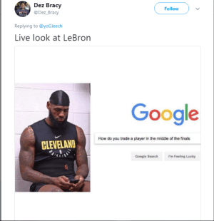 Dank, Finals, and Google: Dez Bracy  @Dez_Bracy  Follow  Replying to @yoGleech  Live look at LeBron  Google  How do you trade a player in the middle of the finals  CLEVELAND  Google Search I'm Feeling Lucky LeBron right now by jonosmut FOLLOW HERE 4 MORE MEMES.