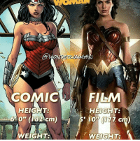 "@gal_gadot is amazing as Wonder Woman!: DEZMALO  COMIC  HEIGHT:  EIGHT:  FILM  HEIGHT:  10"" (177 cm  WEIGHT: A @gal_gadot is amazing as Wonder Woman!"