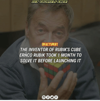 Memes, 🤖, and Cube: DFACTSPERT  THE INVENTOR OF RUBIK'S CUBE  ERNCO RUBIK TOOK 1 MONTH TO  SOLVE IT BEFORE LAUNCHING IT rubikscube