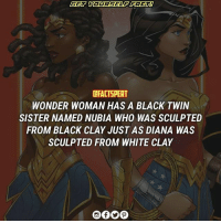 who have seen WONDER WOMAN..🙅??? follow (@factspert) for more wonderwoman dcuniverse Nubia P.C : marcusthevisual.com: DFACTSPERT  WONDER WOMAN HAS A BLACK TWIN  SISTER NAMED NUBIA WHO WAS SCULPTED  FROM BLACK CLAY JUST AS DIANA WAS  SCULPTED FROM WHITE CLAY who have seen WONDER WOMAN..🙅??? follow (@factspert) for more wonderwoman dcuniverse Nubia P.C : marcusthevisual.com