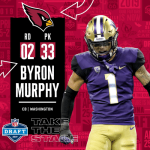 Memes, Nfl, and NFL Draft: DI  DRAFT  SE  RD PK  DAWGS  0233  BYRON  MURPHY  2019  NA  IN  NA  F T  LLS  CB WASHINGTON  NFL  DRAFT TTHE  RIZON  DI  2019  25 With the #33 overall pick in the 2019 @NFLDraft, the @AZCardinals select CB Byron Murphy! #NFLDraft https://t.co/A4LZ6QuBol