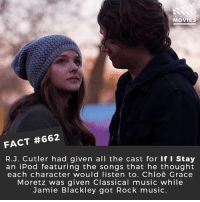 Ass, Chloe Grace Moretz, and Memes: Di  MOVIES  FACT #662  R.J. Cutler had given all the cast for If I Stay  an iPod featuring the songs that he thought  each character would listen to. Chloë Grace  Moretz was given Classical music while  Jamie Blackley got Rock music. Do you want Chloe Grace Moretz to do Kick Ass 3? 🎥 • • • • Double Tap and Tag someone who needs to know this 👇 All credit to the respective film and producers. movie movies film tv cinema fact didyouknow moviefacts cinematography screenplay director movienight shrooms hollywood netflix didyouknowmovies academyawards chloegracemoretz kickass mma killer