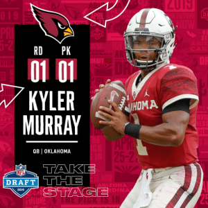 Memes, Nfl, and NFL Draft: DI  O N  BE  SE  DRAFT  RD PK  2019  01 01  KYLERM  MURRAY  Riddel  HOMA  F T  CLO  LLS  QBl OKLAHOMA  5-2  NFL  DRAFT TTHE  ARIZONA  DINA  2019 With the #1 overall pick in the 2019 @NFLDraft, the @AZCardinals select QB @TheKylerMurray! #NFLDraft (by @Bose) https://t.co/Mib4QFXAer