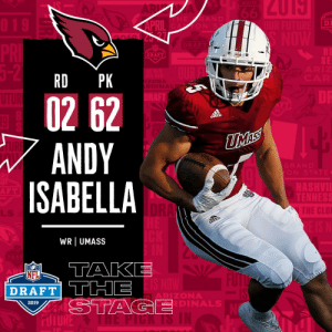 Memes, Nfl, and NFL Draft: DI  ON S  DRAFT  SE  RD PK  02 62  ANDY  ISABELLA  GRAN D  ON STATE  NASHVI  F T  E C  LLS  WR UMASS  NFL  DRAFT THE  ARIZONA  DINAL  2019 With the #62 overall pick in the 2019 @NFLDraft, the @AZCardinals select WR Andy Isabella! #NFLDraft https://t.co/Z2Uf6U446U
