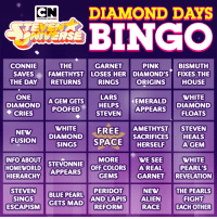 rhineguapo:  What is gonna happen during Diamond Days?: DIAMOND DAYS  CAR  TOON NETWORK  ERSE  THE GARNET PINK  SAVES FAMETHYST LOSES HER DIAMOND'S FIXES THE  RINGS  CONNIE  BISMUTH  THE DAY RETURNS  ORIGINS  HOUSE  ONE  DIAMOND POOFED  ◆ CRIES  HELPS EMERALDWHITE  STEVEN APPEARS DIAMOND  DIAMOND AGEM GETS LARS  WHITE FREE  NEW DIAMOND SPACE HERSELF  AMETHYST STEVEN  SACRIFICESHEALS  FUSION  SINGS  INFO ABOUT STEVONNIE  HOMEWORLD APPEARS GEMS  MOREWE SEE WHITE  PEARL'S  OFF COLORS  A REAL  GARNET REVELATION  STEVEN BLUE PEARL AND LAPIS  NEW  ALIEN  RACE IE ROTHER  THE PEARLS  FIGHT  ESCAPISM GETS MAD AND LAPIS rhineguapo:  What is gonna happen during Diamond Days?