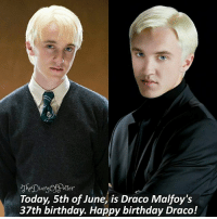 Dian  Today, 5th of June, is Draco Malfoy's  37th birthday. Happy birthday Draco! Happy birthday Draco! 🎉💖 Your battery percentage represents how much you like Draco, comment down below! 👇❤ Tag a friend who loves Harry Potter too! 😝⚡ • Potterheads⚡count: 134,080