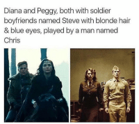 Memes, Soldiers, and 🤖: Diana and Peggy, both with soldier  boyfriends named Steve with blonde hair  & blue eyes, played by a man named  Chris True 💯💯
