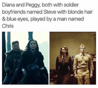 blonde hair blue eyes: Diana and Peggy, both with soldier  boyfriends named Steve with blonde hair  & blue eyes, played by a man named  Chris