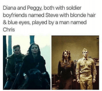 Memes, Soldiers, and 🤖: Diana and Peggy, both with soldier  boyfriends named Steve with blonde hair  & blue eyes, played by a man named  Chris @marvelousfacts - True 💯💯
