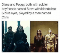 Memes, Blue, and Hair: Diana and Peggy, both with soldier  boyfriends named Steve with blonde hair  & blue eyes, played by a man named  Chris