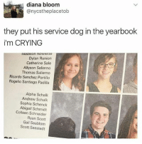 Crying, Funny, and Thomas: diana bloom  anycstheplacetob  they put his service dog in the yearbook  i'm CRYING  Dylan Runion  Catherine Sale  Allyson Salierno  Thomas Salierno  Ricardo Sanchez Portillo  Rogelio Santiago Padilla  Alpha Schalk  Andrew Schalk  Sophia Schenck  Abigail Schmidt  Colleen Schneider  Ryan Scott  Gail Seablom  Scott Seestedt I'm dead 😂😂😂