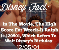 Birthday, Memes, and Movie: Diane c  edisneyloversonly  In The Movie,The High  Score For Wreck-It Ralph  Is 120501, Which Refers To  Walt Disney's Birthday  12/05/01 Did you know? -Iceprincess