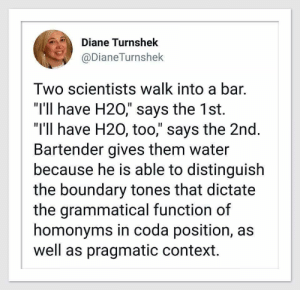 "Water, H20, and Bar: Diane Turnshek  @DianeTurnshek  Two scientists walk into a bar.  ""I'1l have H20,"" says the 1st.  ""I'll have H20, too,"" says the 2nd  Bartender gives them water  because he is able to distinguish  the boundary tones that dictate  the grammatical function of  homonyms in coda position, as  well as pragmatic context."