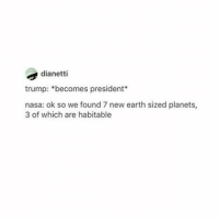 Nasa, Tumblr, and Kat: dianetti  trump: becomes president  nasa: ok so we found 7 new earth sized planets,  3 of which are habitable Why do I have black nails, docs, a flannel, a nose piercing and a beanie all on at once? You get one soft grunge accessory. ONE. ~Kat *whispers* lesbians ~ Kay