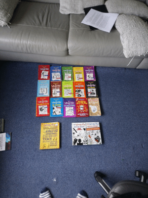 My collection. Hope you like it.: DIARY  DIARY  of a  Wimpy Kid  DIARY  DIARY  DIARY  of a  Wimpy Kid  Winpy Kid  Wirmpy Kid  DOG DAYS  Winpy Kid  RODRICK RULES  THE LAST STRAM  THE UGLY TRUTH  novel  Jeff Kinney  GAUTERNIATIO  DEBRUENLER  Jeft Kinney  DIARY  of a  DIARY  of a  DIARY  DIARY  of a  DIARY  Wimpy Kid  Wimpy Kid  HARD LUCK  Winpy Kid  OLD SCHOSL  Winpy Kid  Wimpy Kid  CABIN FEVER  THE THIRD WHEEL  THE LONG HAUL  INTERNATIONAL  BESTSEELER  INTERNATIONAL.  CESTSELLER Jeff Khney  Jeff Kinney  DIARY  of a  DIARY  of a  DIARY  DIARY  of a  Wimpy Kid  DOUBLE DOWN  Wimpy Kid  Winpy Kid  THE GETAWAY  Aweseme  Winpy Kid  THE MELTDOWN  Friendly Kid Do-Ir-Yourself  Book  TCRE  TIONAL  Rowley Jefferson's  JÓURNAL  Jeff Knne  Jeff Kinney  Wimpy Kid  SCHOOL PLANNER  THE Wimpy Kid Wimpy Kid  MOVIE DIARY  MOVIE DIARY  OGREE  EFFLEY  THIS AMAZING  THE NEXT CHAPTER  WENMOUEVWOOD  ZECHNOLOGY  PIECE MR  OF ILUI  ILLB ELP YOU  Kirrey  KEEP TRACK OF HOMEWORK ASSIGNMENTS  MANAGE YOUR  TIME  MAKING OF  STAY ORGANIZED  PLA N YO UR  SOCIAL LIFE  NO PISSELY E -A E  THE STORY  ALL 3  COMES FULLY CHARGED AND READT DO US3  ND THE  WORLD IN 80 DAYS  Jules Verne My collection. Hope you like it.