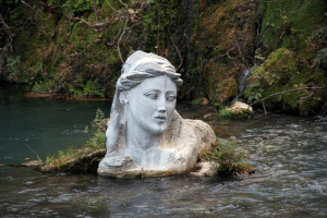 diaryofalandlockedmermaid:Bust of the nymph/naiad Herkyna in the Herkyna River in Greece: diaryofalandlockedmermaid:Bust of the nymph/naiad Herkyna in the Herkyna River in Greece