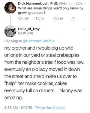 "Wholesome Nanny: Dick Hammerbush, PhD. @Ham... .22h  What are some things you'd only know by  growing up poor?  1,215  124  589  Hella_of_Troy  @OfHella  Replying to @HammerbushPhD  my brother and i would dig up wild  onions in our yard or steal crabapples  from the neighbor's tree if food was low.  eventually an old lady moved in down  the street and she'd invite us over to  ""help"" her make cookies, cakes  Nanny was  eventually full on dinners  amazing.  8:35 AM 8/19/19 Twitter for Android Wholesome Nanny"