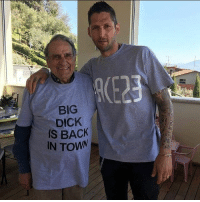 Internet, Memes, and Congratulations: DICK  IS BACK  IN TOWN Congratulations to Marco Materrazzi, who's won the Internet today, with this picture of him and his Grandad. -- 📸 - @LENSbible 📖 - @FACTSbible 😂 - @LADbible ⚽ - @SPORTbible 🍔 - @FOODbible 🕹 - @GAMINGbible 💰 - @ODDSbible 🐶 - @PRETTY52