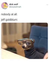 "fyi jeff is 6'4"" and aging like wine: dick wolf  @soyeahnah  nobody at all:  jeff goldblum: fyi jeff is 6'4"" and aging like wine"