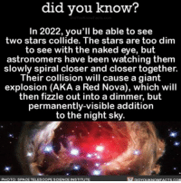 I'll put it on my calendar. ✨ awesome stars space ➡📱Download our free App: [LINK IN BIO]: did did you know?  In 2022, you'll be able to see  two stars collide. The are dim  to see with the naked eye, but  astronomers have been watching them  slowly spiral closer and closer together.  Their collision will cause a giant  explosion (AKA a Red Nova), which will  then fizzle out into a dimmer, but  permanently-visible addition  to the night sky.  rf pipYouKNowFACTs.coM  PHOTO: SPACE TELESCOPE SCIENCEINSTITUTE I'll put it on my calendar. ✨ awesome stars space ➡📱Download our free App: [LINK IN BIO]