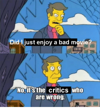 Bad, Rude, and Target: Did I just enjoy a bad movi  tHI  No,it's the critics who  are wrong. vicholas:I try not to be a rude person but this is 90% of posts about film critics on this site