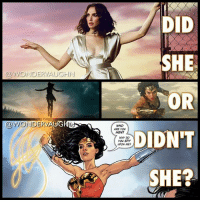 "Crime, God, and Memes: DID  SHE  OR  DIDN'T  SHE?  @WONDERVAUGHN  @WONDERVAUGEN  WHO  ARE YOU  MEN?  WHY DO  you Spy  UPON ME DID @gal_gadot's WONDER WOMAN FLY? *** Wonder Woman has not always had the ability to fly. It's a skill she developed over time. * -In the comics when she premiered in December 1941 she did not have the ability to fly. That did not occur until much later on in her crime fighting career (gliding on air currents as of 1958) and then (eventual flight in 1985). * -She also did not fly in the 1973 SuperFriends TV series. * -Lynda Carter was grounded in the 1975-1979 TV series * -The 2009 animated Wonder Woman movie was also no flight. * -She did not fly at the start of the 2011 new 52 continuity (she gained the ability after Hermes struck her with one of his magical feathers). * -MY THOUGHTS: In the 2017 DCEU film she levitated (cinematic God Mode ability) when she was fighting Ares and at the end of the film she did a ""jump flight"" similar to what she did in BvS. *** superhero injustice dceu dc dccomics dcrebirth dcentertainment dcnation dcextendeduniverse girlpower women femaleempowerment manofsteel thedarkknight"