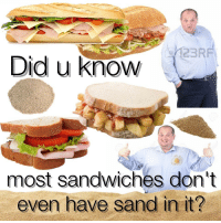 Did, Sand, and Sandwiches: Did u know  most sandwiches don't  even have sand in it?