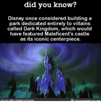 Amazon, Disney, and Disneyland: did vou know?  Disney once considered building a  park dedicated entirely to villains  called Dark Kingdom, which would  have featured Maleficent's castle  as its iconic centerpiece.  PHOTO: WALT DISNEY STUDIOS Please reconsider because this is 💯. disneyland disneyvillains disneyworld movies ➡️📓 Buy our book on Amazon: [LINK IN BIO]