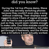 This gave me anxiety 🤣📱 awesome iPhone crazy 📢 Share the knowledge! Tag your friends in the comments. ➖➖➖➖➖➖➖➖➖➖➖ Want more Did You Know(s)? ➡📓 Buy our book on Amazon: [LINK IN BIO] ➡📱 Download our App: http:-apple.co-2i9iX0u ➡📩 Get daily text message alerts: http:-Fact-Snacks.com ➡📩 Free email newsletter: http:-DidYouKnowFacts.com-Sign-Up- ➖➖➖➖➖➖➖➖➖➖➖ We post different content across our channels. Follow us so you don't miss out! 📍http:-facebook.com-didyouknowblog 📍http:-twitter.com-didyouknowfacts ➖➖➖➖➖➖➖➖➖➖➖ DYN FACTS TRIVIA TIL DIDYOUKNOW NOWIKNOW: did vou know?  During the 1st live iPhone demo, Steve  Jobs was secretly switching phones  because they couldn't even play a song  without crashing. Their displays were  rigged to show 5 bars of signal strength  and he had to use a portable cell tower  just so they would seem reliable enough  to make calls. One little mistake could've  ruined the entire presentation, but Jobs  got through it flawlessly, and the iPhone  was a hit before it ever actually worked.  PHOTO: GETTY IMAGES  DIDYOUKNOWFACTS.com This gave me anxiety 🤣📱 awesome iPhone crazy 📢 Share the knowledge! Tag your friends in the comments. ➖➖➖➖➖➖➖➖➖➖➖ Want more Did You Know(s)? ➡📓 Buy our book on Amazon: [LINK IN BIO] ➡📱 Download our App: http:-apple.co-2i9iX0u ➡📩 Get daily text message alerts: http:-Fact-Snacks.com ➡📩 Free email newsletter: http:-DidYouKnowFacts.com-Sign-Up- ➖➖➖➖➖➖➖➖➖➖➖ We post different content across our channels. Follow us so you don't miss out! 📍http:-facebook.com-didyouknowblog 📍http:-twitter.com-didyouknowfacts ➖➖➖➖➖➖➖➖➖➖➖ DYN FACTS TRIVIA TIL DIDYOUKNOW NOWIKNOW