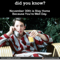 "Amazon, Apple, and Facebook: did vou know?  November 30th is Stay Home  Because You're Well Day.  PHOTO: PARAMOUNT PICTURES  殴DIDYOUKNOWBLOG.COM Call your boss because you're ""sick"" tomorrow 🤫😉 ferrisbueller saveferris movies november sickday 📢 Share the knowledge! Tag your friends in the comments. ➖➖➖➖➖➖➖➖➖➖➖ Want more Did You Know(s)? ➡📓 Buy our book on Amazon: [LINK IN BIO] ➡📱 Download our App: http:-apple.co-2i9iX0u ➡📩 Get daily text message alerts: http:-Fact-Snacks.com ➡📩 Free email newsletter: http:-DidYouKnowFacts.com-Sign-Up- ➖➖➖➖➖➖➖➖➖➖➖ We post different content across our channels. Follow us so you don't miss out! 📍http:-facebook.com-didyouknowblog 📍http:-twitter.com-didyouknowfacts ➖➖➖➖➖➖➖➖➖➖➖ DYN FACTS TRIVIA TIL DIDYOUKNOW NOWIKNOW"