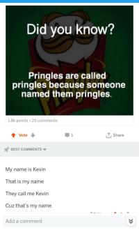 My Name Is Kevin: Did vou know?  Pringles are called  pringles because someone  named them pringles  1.8k points 25 comments  tVote  T.Share  BEST COMMENTS ▼  My name is Kevin  That is my name  T hey call me Kevin  Cuz that's my name  Add a comment